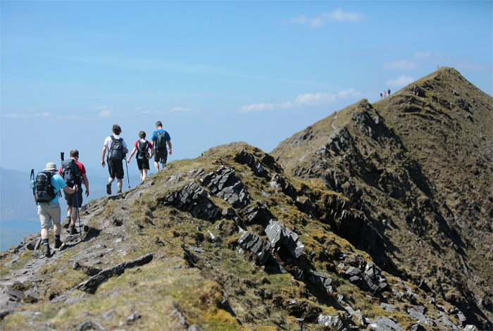 Walkers on Caher Ridge